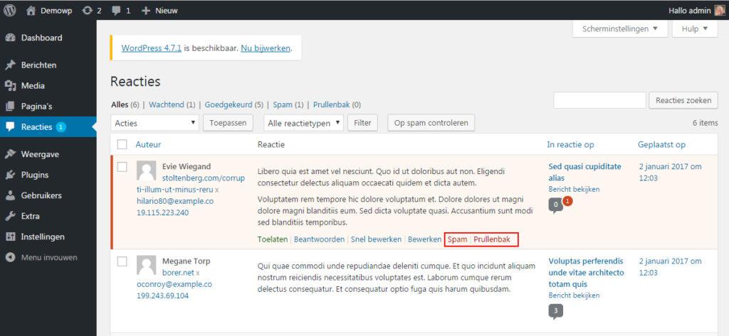 reacties-spam-verwijderen-wordpress-handleiding